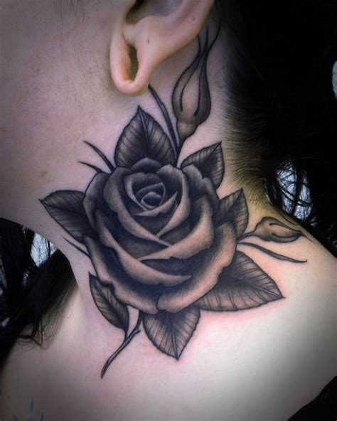 black rose tattoo south beach grey on side neck