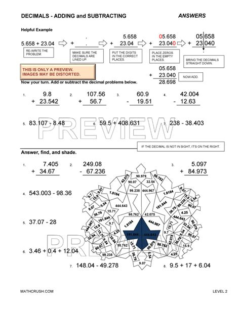 Subtracting Decimals Worksheet by Adding And Subtracting Decimals Worksheet Quotes