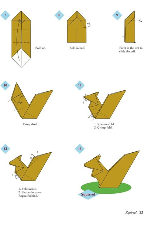 Easy Kid Origami - easy origami animals page 4 of 6 squirrel 2 of 2