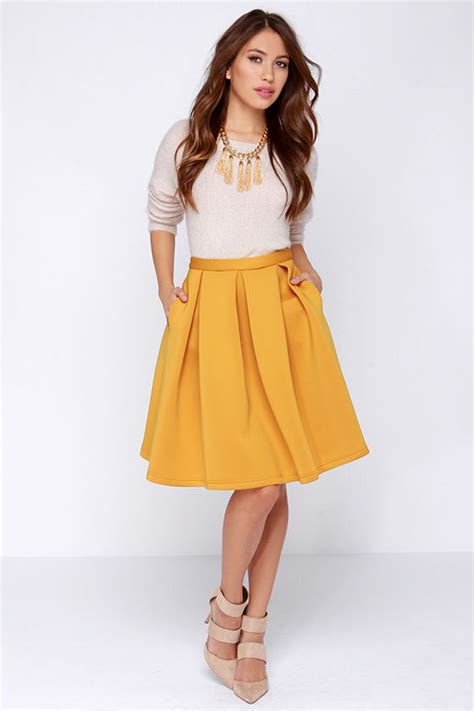 Pleated Midi Cullote chic pleated skirt flared skirt yellow skirt 59 00