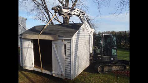 moving shed  bobcat youtube