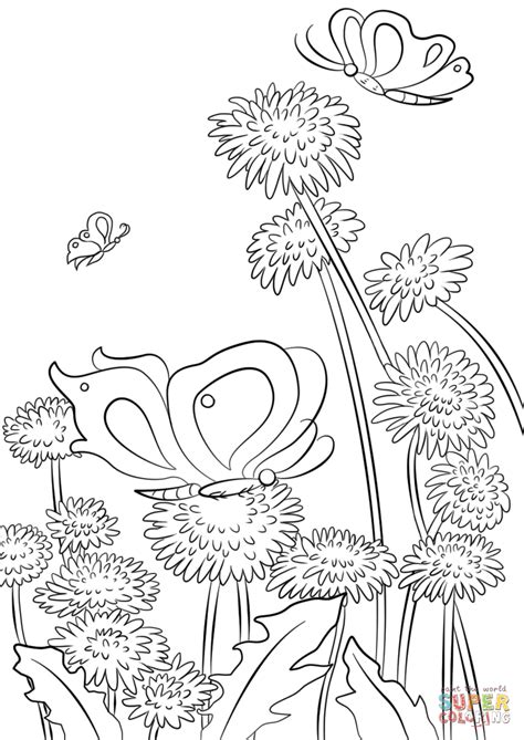 Coloring Pictures Of Flowers And Butterflies by Butterflies And Flowers Coloring Page Free Printable