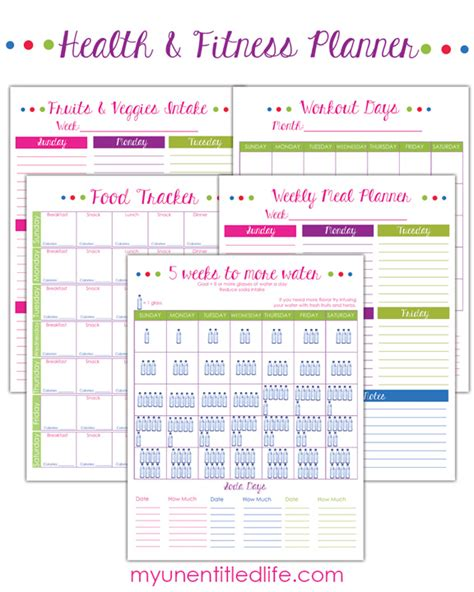 printable diet and exercise planner free fitness and food planner fitness planner planners
