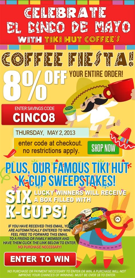 Tiki Hut Coupons tiki hut coffee cinco de mayo coupon code