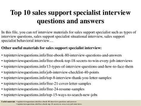 top 10 sales support specialist questions and