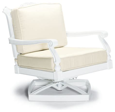 white patio lounge chairs glen isle swivel lounge with cushions in white finish