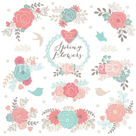 floral wedding clipart vector floral clipart flower clipart pink floral