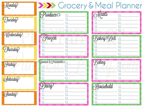 grocery list planner printable ultimate planning notebook add on grocery meal planner