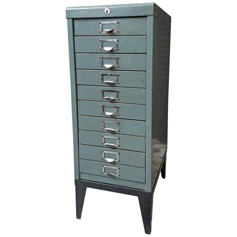 Metal Filing Cabinets by 1970s Blue Industrial Ten Drawer Metal Filing Cabinet At