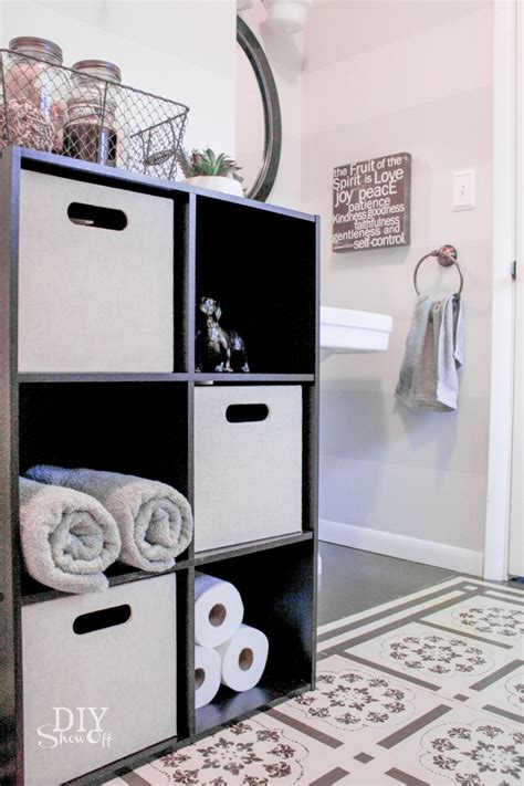 bathroom cube storage toilet paper holder shelf and bathroom accessoriesdiy show