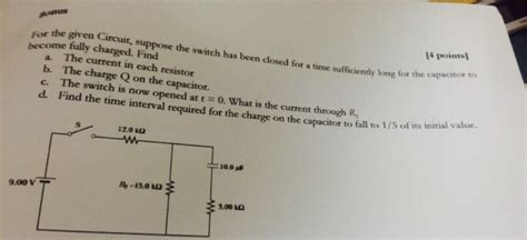 suppose the switch is closed for a time how much energy is stored in the inductor physics archive january 20 2015 chegg