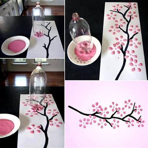 soda bottle flower painting cherry blossom art using a bottle top diy ideas