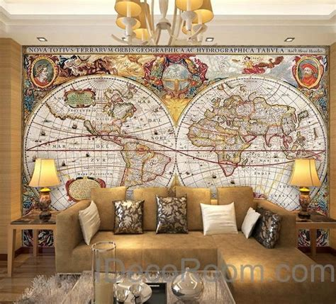 wall map for room vintage hd world map wallpaper wall decals wall print mural home d idecoroom