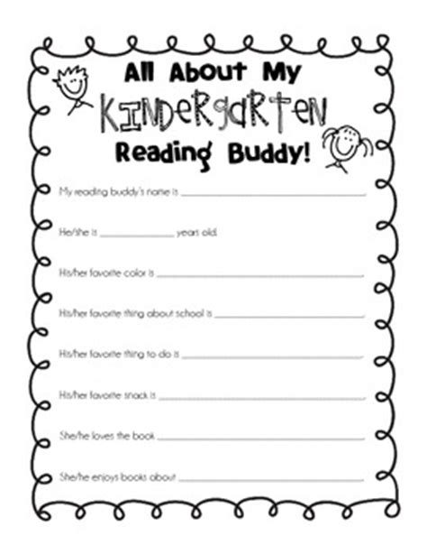 kindergarten activities getting to know you kindergarten reading buddy getting to know you form by