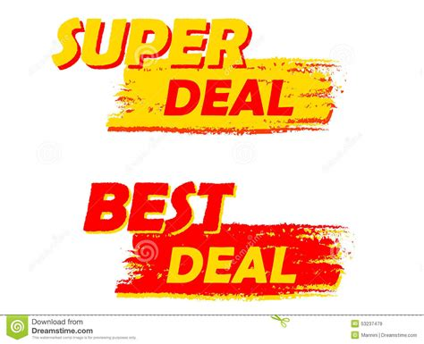 best deal and best deal yellow and labels stock