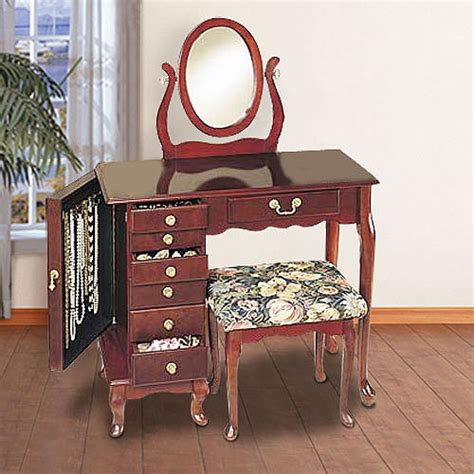 Jewelry Armoire Vanity by Jewelry Armoire Vanity Mirror And Bench Set Heirloom