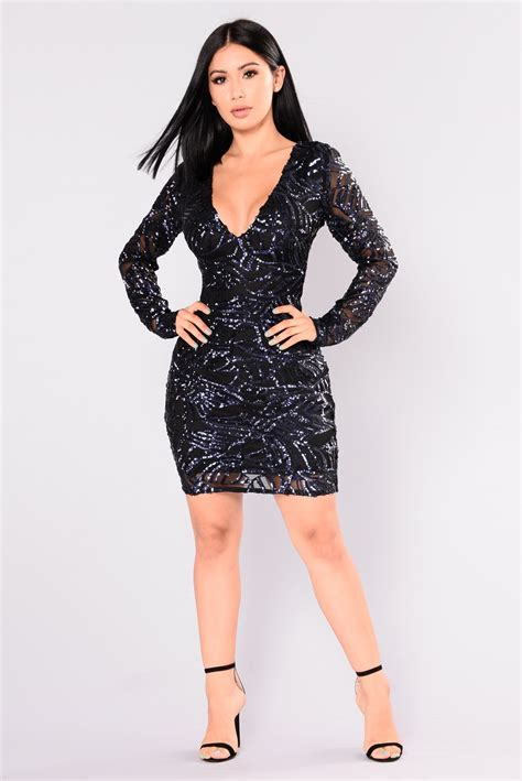 Dress Navy Fashion Wanita Dress Wanita is born sequin dress navy