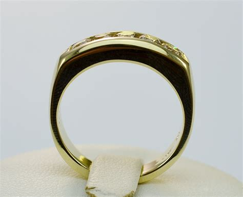 yellow gold  stone diamond high polished mens