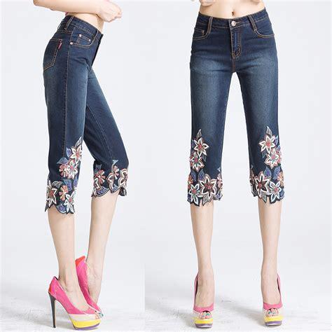 como decorar jeans con pedreria pantalones con bordados joyas en las piernas vestidos