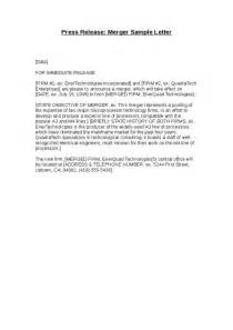 merger announcement template merger announcement letter