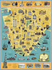 landmarks map new york map landmarks travel map vacations travelsfinders