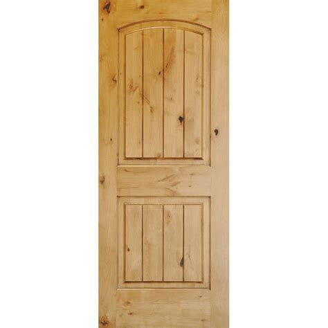 home depot solid wood interior doors krosswood doors 30 in x 96 in knotty alder 2 panel top rail arch with v groove solid wood