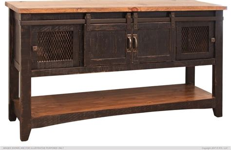 sofa table with doors crafters and weavers greenview black solid pine sofa
