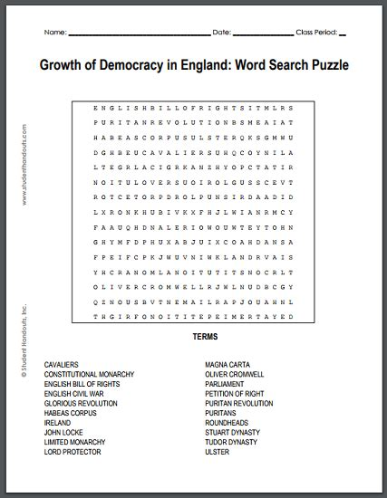 growth of democracy in word search puzzle free