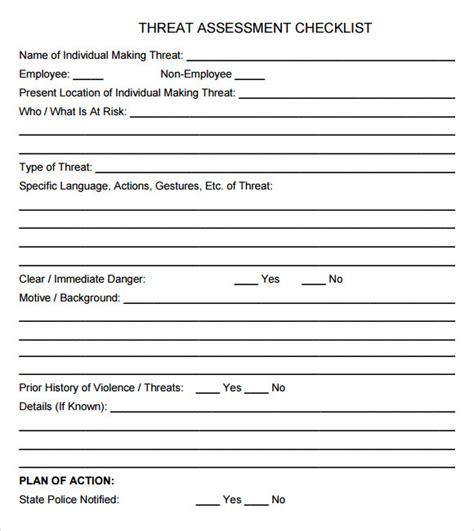 Threat Assessment Template Free 10 Sle Threat Assessments Sle Templates