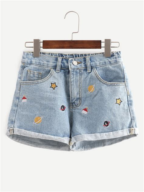Embroidered Denim Shorts blue embroidered cuffed denim shortsfor romwe