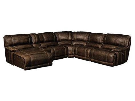 Value City Leather Sectional by St Malo Brown 6 Pc Leather Reclining Sectional Value