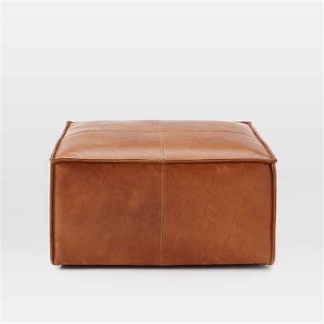 ottoman leather leather ottoman west elm