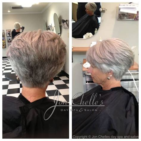 wedge haircut for grey hair short stacked women s cut by julia winstead aveda