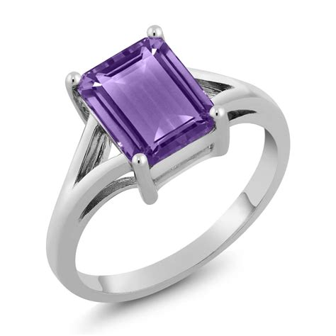 Octagon Silver Ring 2 25 ct octagon purple amethyst 925 sterling silver ring