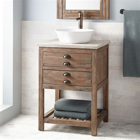 "24"" Benoist Reclaimed Wood Vessel Sink Vanity   Gray Wash"