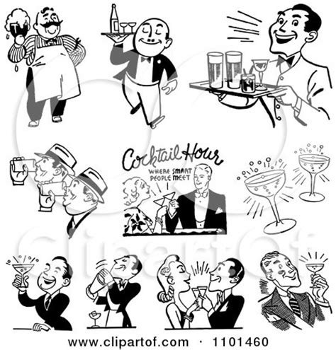 vintage cocktail party clipart clipart retro black and white bartender mixing drinks
