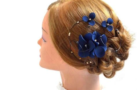 Wedding Hair Accessories Navy by Floral Headpiece Navy And Gold Fascinator Bridal Hair