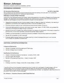 resume templates for mechanical engineers resume exle 55 cv template australia cv format in word