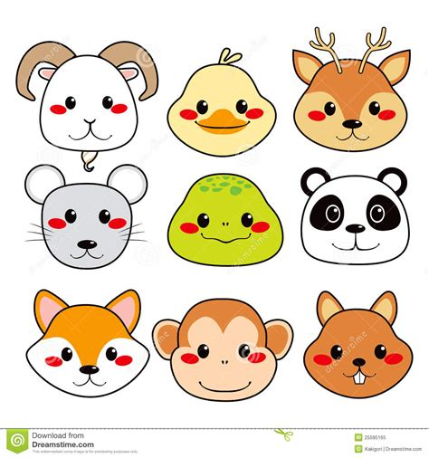 Happy animal faces stock vector illustration of monkey 25595165