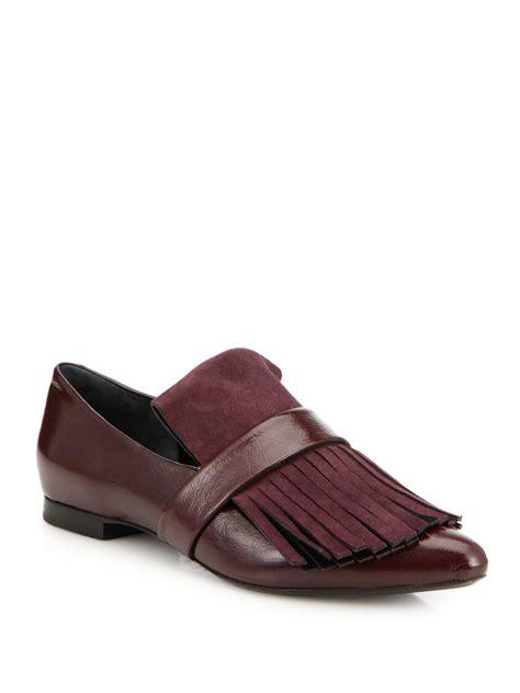 purple loafers proenza schouler leather suede fringe loafers in purple