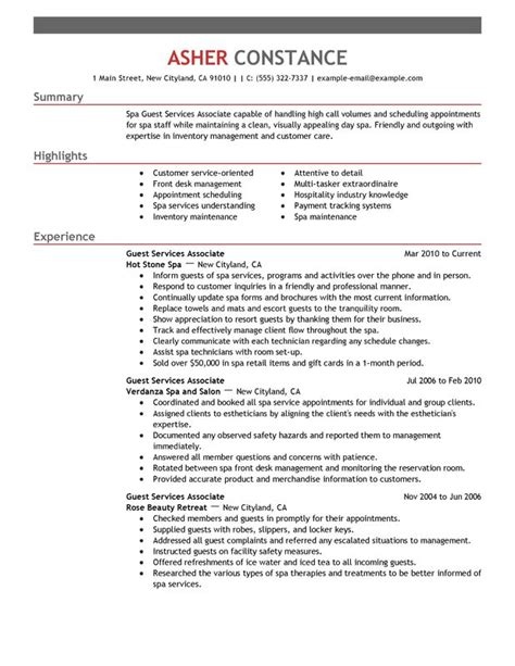 Resume Sles For Customer Service Associate Guest Service Associate Resume Sle My Resume