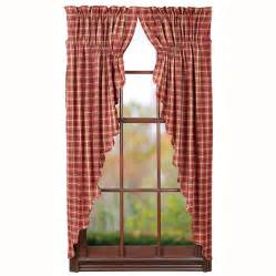 Red Plaid Drapes Kendrick Prairie Curtain Rustic Country Burgundy Tan Plaid
