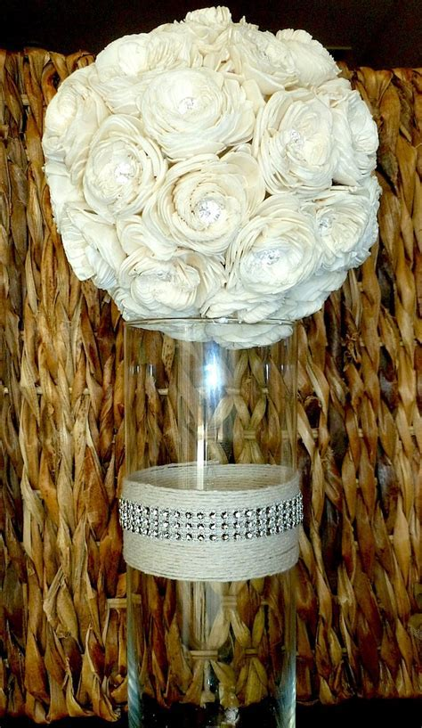 Crystal and Twine Vase  Wedding Centerpiece, Shabby Chic