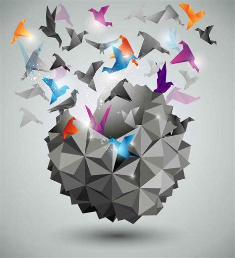 three dimensional origami free vectors free vector free vector graphics