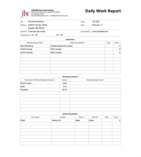 daily report templates daily report template 25 free word excel pdf