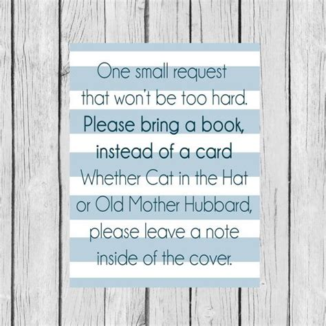 Bring A Book Instead Of A Card Baby Shower Templates by Bring A Book Instead Of A Card Baby Blue Striped Printable