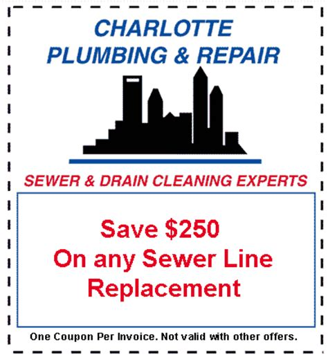 drain sewer cleaning repair charlotte nc concord plumber specials and coupons in charlotte nc