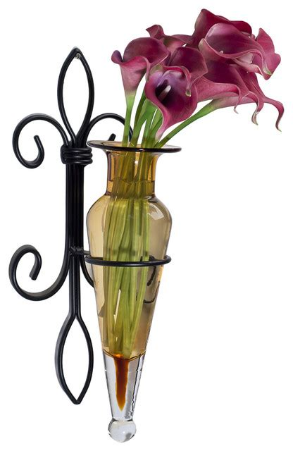 wall hanging hora flower vase sconce on fleur lys iron
