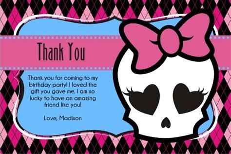 printable monster notecards monster high inspired girly skull thank you card