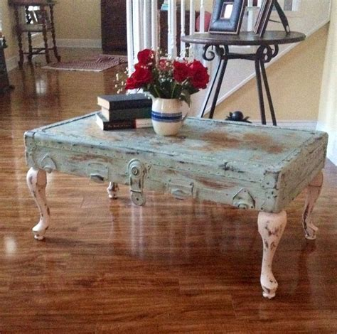 Shabby Chic Trunk Coffee Table Shabby Chic Vintage Trunk Lid Coffee Table What A Great Idea Suitcase Tables Pinterest